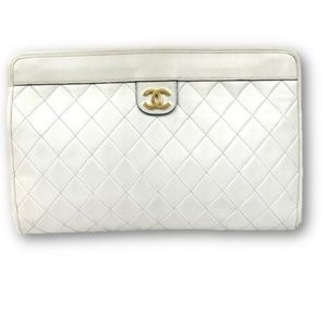 Vintage Chanel Quilted Leather Ivory Frame Clutch